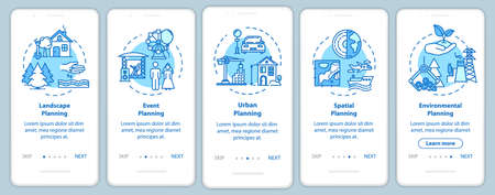 Landscape architecture onboarding mobile app page screen with concepts. Building infrastructure walkthrough 5 steps graphic instructions. UI vector template with RGB color illustrations