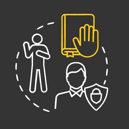 Oath chalk RGB color concept icon. Making pledge on book. Courthouse legislation. Witness testimony. Notary service idea. Vector isolated chalkboard illustration on black background