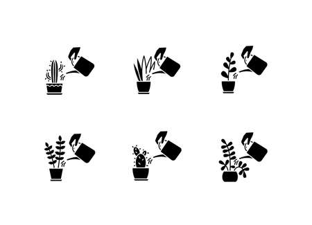Houseplant care black glyph icons set on white space. Domestic plant cultivation. Watering plants. Moisturizing, rehydrating soil. Moistening ground. Silhouette symbols. Vector isolated illustration