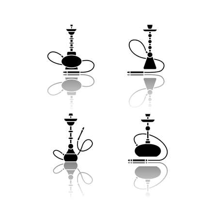 Hookah drop shadow black glyph icons set. Amusement with friends. Sheesha house. Nargile lounge. Odor from pipe. Scent of vaporizing. Smoking area. Isolated vector illustrations on white space Illustration
