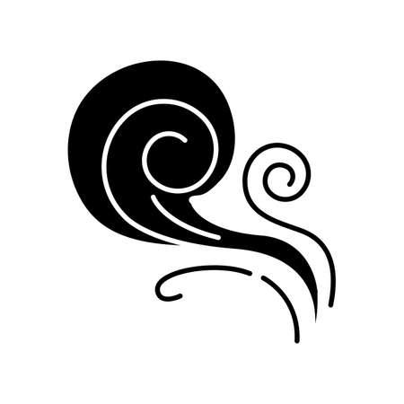 Wind whirl black glyph icon. Cold fresh air swirl. Whirlwind. Good smell, evaporation. Aromatic fragrance. Blowing wind spirals, fume. Silhouette symbol on white space. Vector isolated illustration