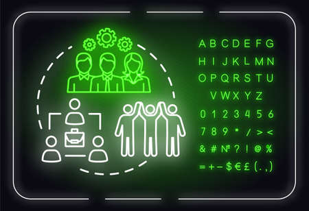 Corporate strategies neon light concept icon. Community goal progress. Building company idea. Outer glowing sign with alphabet, numbers and symbols. Vector isolated RGB color illustration