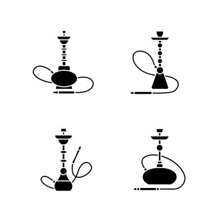 Hookah black glyph icons set on white space. Amusement with friends. Sheesha house. Nargile lounge. Odor from pipe. Scent of vaporizing. Smoking area. Silhouette symbols. Vector isolated illustration Vecteurs
