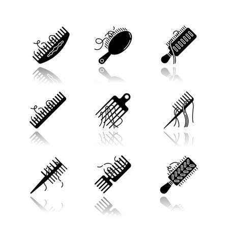 Hair loss drop shadow black glyph icons set. Comb with hair. Alopecia, stress symptom. Hairbrush with strands. Dermatology, cosmetology. Haircare problem. Isolated vector illustrations on white space