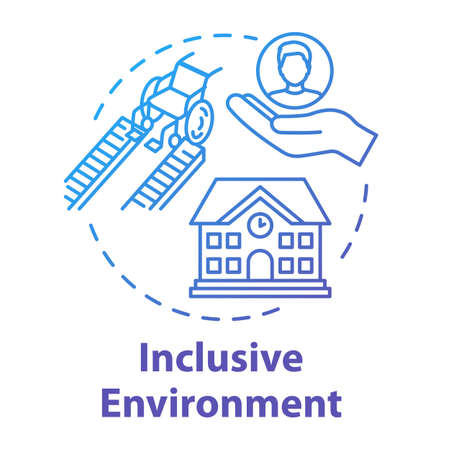 Inclusive environment concept icon. Rehabilitation for students with special needs. Aid for disabled people idea thin line illustration. Vector isolated outline RGB color drawing. Editable stroke