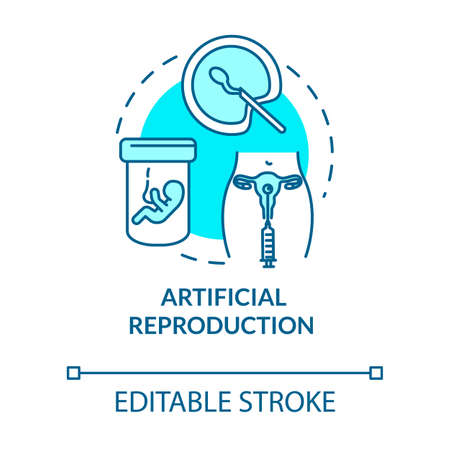 Artificial reproduction turquoise concept icon. Female infertility treatment. Reproductive technology idea thin line illustration. Vector isolated outline RGB color drawing. Editable stroke  イラスト・ベクター素材