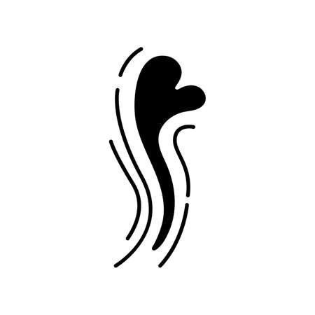 Odor black glyph icon. Good smell. Aroma swirl with heart shape evaporation. Perfume scent. Fluid puff, steam curl, evaporation. Silhouette symbol on white space. Vector isolated illustration
