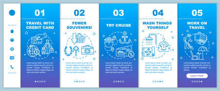 Budget travel advice onboarding vector template. Money saving opportunities on vacation, low cost holiday. Responsive mobile website with icons. Webpage walkthrough step screens. RGB color concept