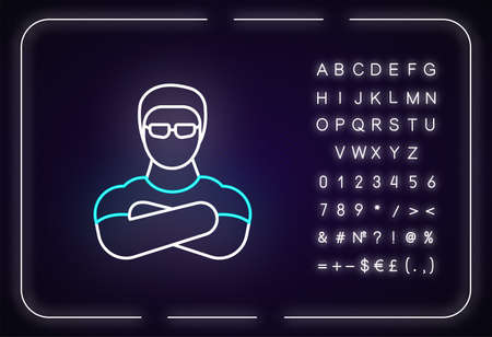 Nightclub security guard neon light icon. Outer glowing effect. Sign with alphabet, numbers and symbols. Night club face control. Bouncer with crossed arms vector isolated RGB color illustration