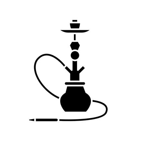 Hookah black glyph icon. Sheesha house. Hooka accessories shop. Nargile lounge. Odor from pipe. Scent of vaporizing. Smoking area. Silhouette symbol on white space. Vector isolated illustration