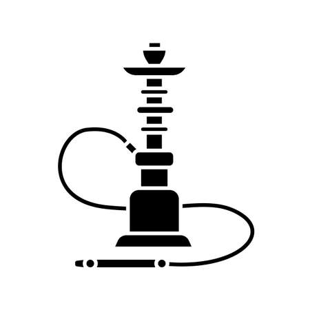 Hookah black glyph icon. Sheesha house. Flavored turkish hooka. Nargile lounge. Odor from pipe. Scent of vaporizing. Smoking area. Silhouette symbol on white space. Vector isolated illustration Vettoriali