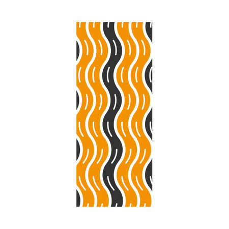 Tire tread black and yellow RGB color icon. Detailed automobile, motorcycle wave-shaped tyre marks. Car wheel trace with thin grooves. Vehicle tire trail. Isolated vector illustration on white