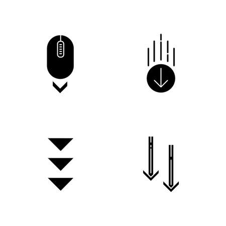 Scrolling down black glyph icons set on white space. Computer mouse and arrowheads in circles buttons. Moving arrows. Way direction. Silhouette symbols. Vector isolated illustration