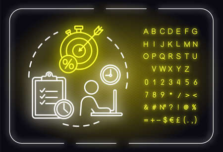 Short-term smart goals neon light concept icon. Relevant target. Building business. Planning idea. Outer glowing sign with alphabet, numbers and symbols. Vector isolated RGB color illustration Ilustração