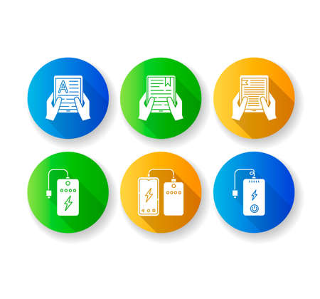 Portable electronic devices flat design long shadow glyph icons set. Power bank. Portable battery. Pocket charging gadget. Hands holding e-readers. Digital reading. Silhouette RGB color illustration