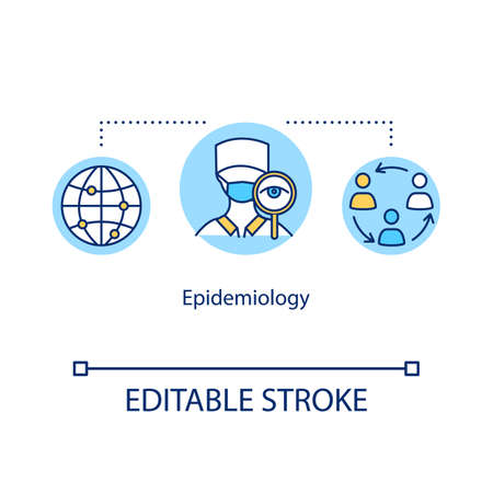 Epidemiology concept icon. Disease assessment. Human epidemic infection prevention. Healthcare idea thin line illustration. Vector isolated outline RGB color drawing. Editable stroke