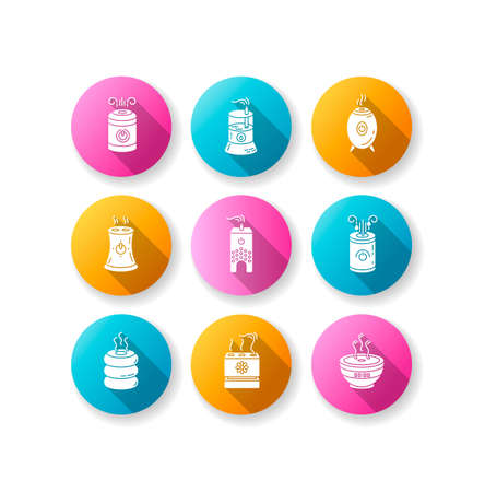 Air ionizers variety flat design long shadow glyph icons set. Ultrasonic and steam air humidifiers, climate control devices, room humidity regulators. Silhouette RGB color illustration