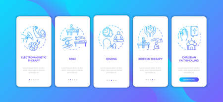 Alternative treatment techniques onboarding mobile app page screen with concepts. External energy medicine walkthrough five steps graphic instructions. UI vector template with RGB color illustrations