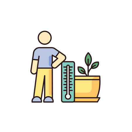 Planting temperature range RGB color icon. Providing proper air temperature conditions for plants. Houseplant care. Plant growing, planting process. Indoor gardening. Isolated vector illustration