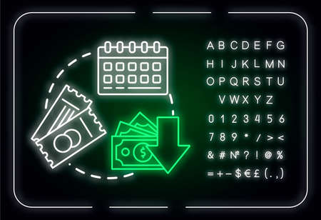 Weekday equals cheap tickets neon light concept icon. Ordering tickets in advance, budget tourism idea. Outer glowing sign with alphabet, numbers and symbols. Vector isolated RGB color illustration Vectores