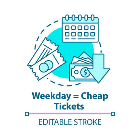 Weekday equals cheap tickets concept icon. Ordering tickets in advance idea thin line illustration. Mid week travel discounts. Vector isolated outline RGB color drawing. Editable stroke