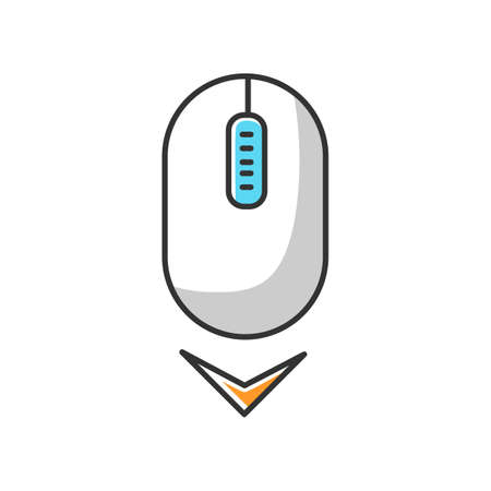 Scrolling mouse white RGB color icon. Down arrowhead indicator. Internet page browsing cursor. PC mouse and arrow. Modern computer element. Website pointer. Isolated vector illustration Çizim