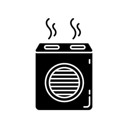 Modern air filter black glyph icon. Humidifying household appliance, water evaporator, air purifier, room climate regulating equipment. Silhouette symbol on white space. Vector isolated illustration