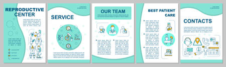 Reproductive center brochure template. Clinic services and contacts. Flyer, booklet, leaflet print, cover design with linear icons. Vector layouts for magazines, annual reports, advertising posters