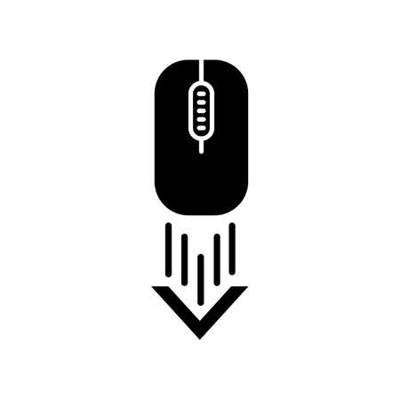 Scrolling down computer mouse black glyph icon. Internet page browsing arrow. Scrolldown gesture indicator. Website pointer. Web cursor. Silhouette symbol on white space. Vector isolated illustration