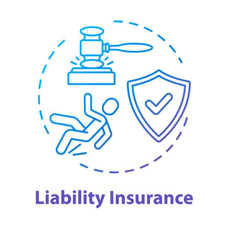 Liability insurance concept icon. Financial regulation. Legal claim. Lawsuit for incident. Insured and guarded life. Accident idea thin line illustration. Vector isolated outline RGB color drawing