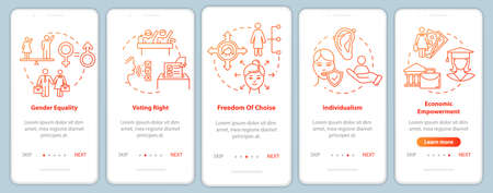 Feminism onboarding mobile app page screen with concepts. Female rights for equal wages and education walkthrough 5 steps graphic instructions. UI vector template with RGB color illustrations Vectores