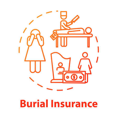 Burial insurance concept icon. Policy payment. Family member loss. Financial help with arrangement. Funeral expense idea thin line illustration. Vector isolated outline RGB color drawing