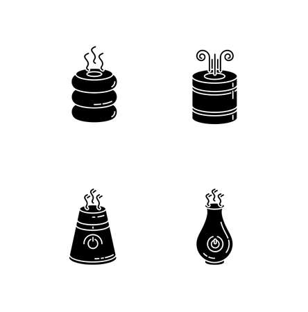 Turned on air humidifiers black glyph icons set on white space. Air purifiers, climate control household appliances, premises humidity regulators. Silhouette symbols. Vector isolated illustration