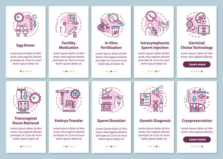 Reproductive technology onboarding mobile app page screen with concepts. Alternative pregnancy walkthrough 5 steps graphic instructions. UI vector template with RGB color illustrations