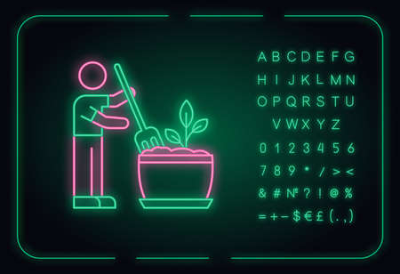 Soil fluffing neon light icon. Plowing, ploughing. Aeration. Plant growing, planting process. Outer glowing effect. Sign with alphabet, numbers and symbols. Vector isolated RGB color illustration 向量圖像