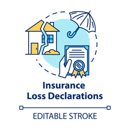 Insurance loss declaration concept icon. Claim refund. Real estate damage. General assurance. Notary service idea thin line illustration. Vector isolated outline RGB color drawing. Editable stroke