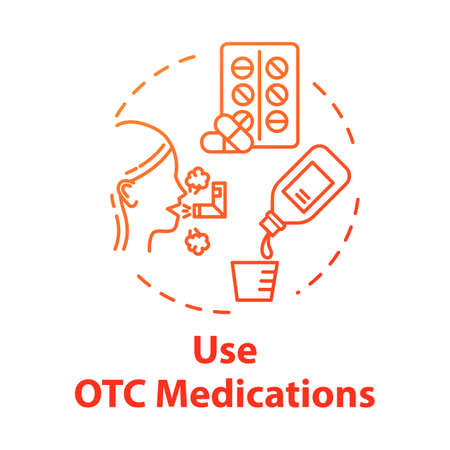 Use OTC medication concept icon. HEalthcare for disease. Cough syrup. Flu medication. Influenza treatment. Healthcare idea thin line illustration. Vector isolated outline RGB color drawing
