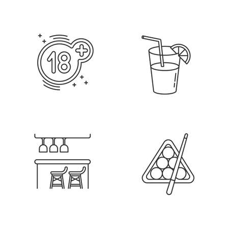 Adult recreation pixel perfect linear icons set. Night club customizable thin line contour symbols. 18 sign, cocktail, bar counter and billiards isolated vector outline illustrations. Editable stroke