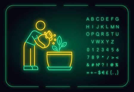 Fertilizing seedling neon light icon. Feeding sapling. Gardening. Growth supplements, amendments. Outer glowing effect. Sign with alphabet, numbers and symbols. Vector isolated RGB color illustration