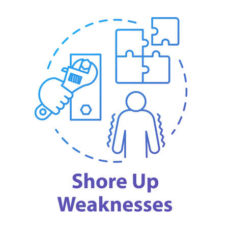 Shore up weaknesses concept icon. Avoid disadvantage. Goal planning. Development and improvement. SWOT strategy. Self-building idea thin line illustration. Vector isolated outline RGB color drawing
