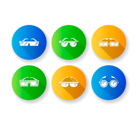 Smart glasses flat design long shadow glyph icons set. Smartglasses. Wearable computer optical gadgets. Augmented reality technology. Monitoring. Mobile devices. Silhouette RGB color illustration
