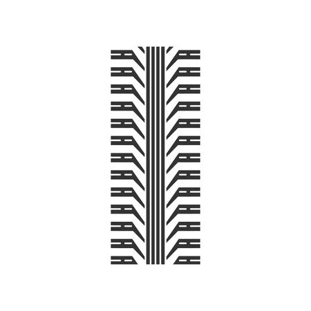 Tire tread black glyph icon. Detailed automobile, motorcycle tyre marks. Car wheel trace with thick grooves. Vehicle tire trail. Silhouette symbol on white space. Vector isolated illustration