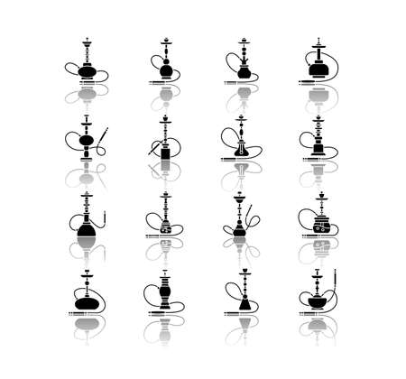 Hookah drop shadow black glyph icons set. Sheesha bar. Hooka accessories. Smoke area. Vapor, vaping. Tobacco option. Arabic lounge object. Isolated vector illustrations on white space