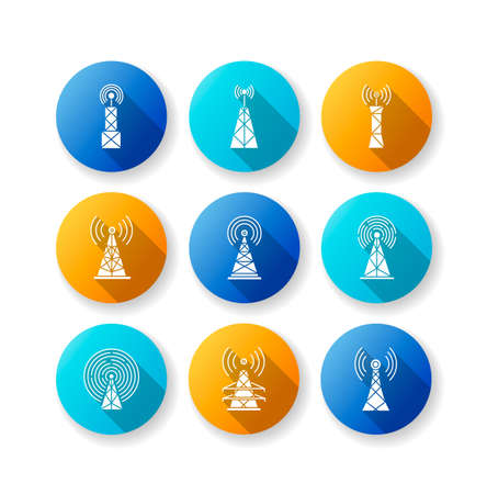 5G cell towers and antennas flat design long shadow glyph icons set. Wireless technology. Fast connection. Mobile network coverage. Telecommunication. Silhouette RGB color illustration