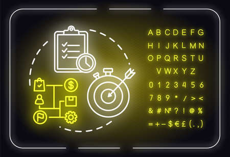 Short-term goals neon light concept icon. Making progress. Time duration. Productive management idea. Outer glowing sign with alphabet, numbers and symbols. Vector isolated RGB color illustration