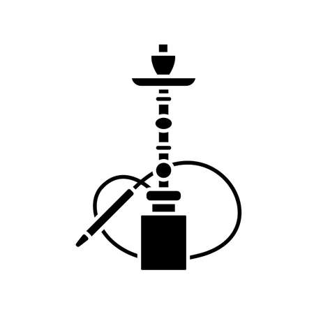 Hookah black glyph icon. Sheesha house. Water pipe, bong. Nargile lounge. Odor from pipe. Scent of vaporizing. Smoking area. Silhouette symbol on white space. Vector isolated illustration