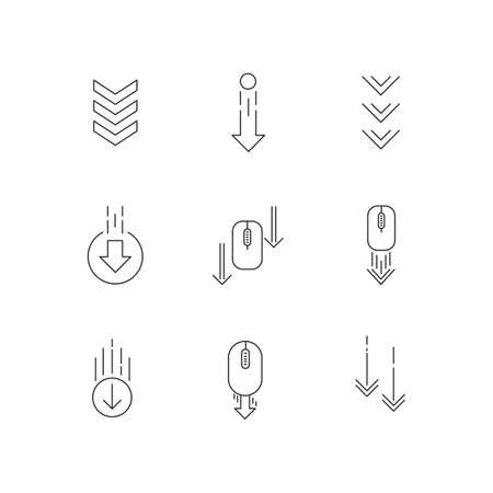 Scrolling down arrows pixel perfect linear icons set. Web cursor. PC elements, indicators. Customizable thin line contour symbols. Isolated vector outline illustrations. Editable stroke