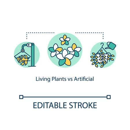 Living plants vs artificial concept icon. Pros and cons. Real and faux houseplants idea thin line illustration. Vector isolated outline RGB color drawing. Editable stroke  イラスト・ベクター素材