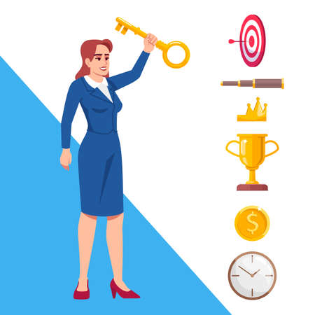 Key to success semi flat RGB color vector illustration. Businesswoman, lady boss holding golden key isolated cartoon character on white background with icons set. Career development secrets