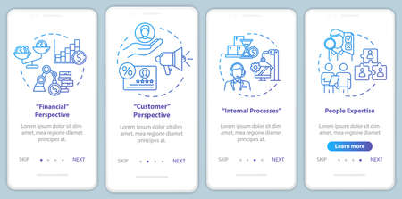 Financial perspective onboarding mobile app page screen with concepts. Human resources. Marketing walkthrough 4 steps graphic instructions. UI vector template with RGB color illustrations Ilustrace